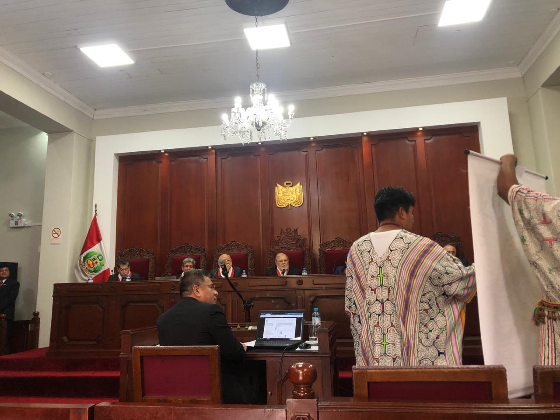 In September 2019, leaders from Santa Clara de Uchunya and FECONAU with legal support from IDL took their land rights struggle before Peru's highest court, the Constitutional Tribunal. Credit: FECONAU.