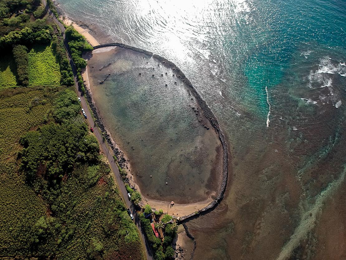 Kahina Pōhaku fishpond in Moloka'i, Hawaii. Credit: Scott Kanda, courtesy of Kua'āina Ulu 'Auamo.