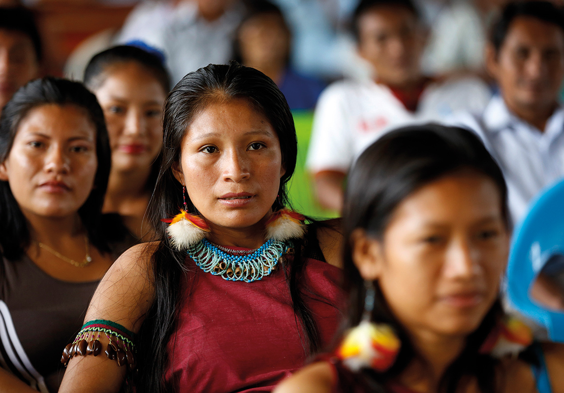 Young members of the Wampis Nation at a meeting. Credit: Pablo Lasansky.