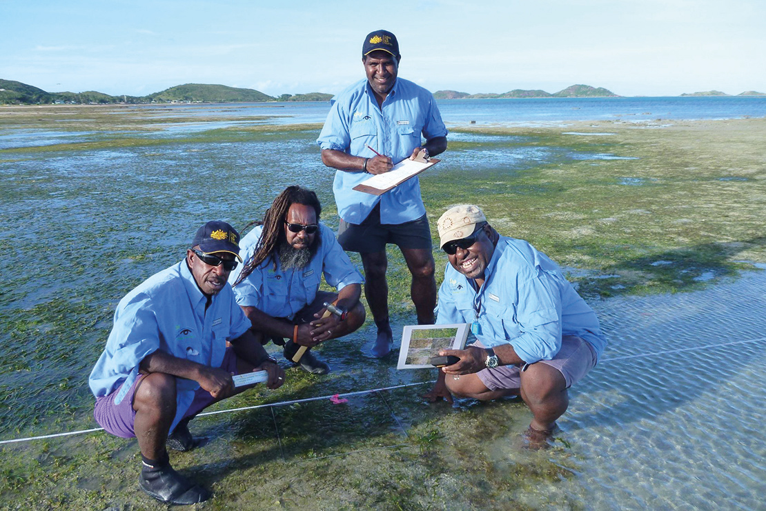 Rangers monitoring the health of seagrasses. Credit: TropWater.